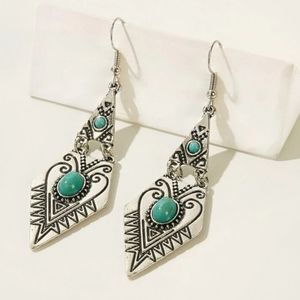 Silver Metallic Drop Boho Turquoise earrings